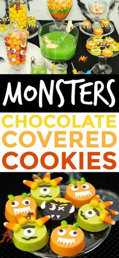 These Chocolate Covered Monster Cookies are super easy to  make and take only a few ingredients. . #halloween #happyhalloween #trickortreat #halloweenparty  #halloweenfun #halloweenDIY #halloweentreats #cookies #desserts #recipes