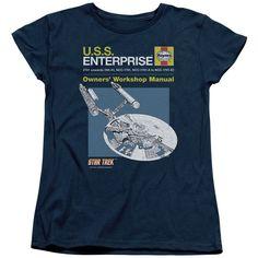 Star Trek/Enterprise Manual Short Sleeve Women's Tee in Navy