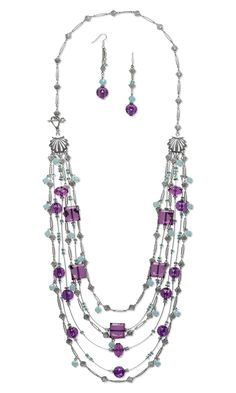 Jewelry Design - Multi-Strand Necklace and Earring Set with Acrylic Beads, Swarovski Crystal Beads and Antiqued Silver-Plated Brass Chain with Shells and Accu-Flex® Beading Wire - Fire Mountain Gems and Beads
