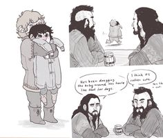 Fili and Kili and Thorin's discussion with Dwalin. Poor little Kili ;) I just can't get over the cuteness