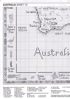 ru / Фото - Map of Australia - natalytretyak Cross Stitch Cow, Cross Stitch Borders, Cross Stitch Animals, Cross Stitch Flowers, Cross Stitching, Cross Stitch Embroidery, Filet Crochet, Crochet Lace Edging, Crochet Borders