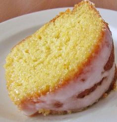 7-UP Moist Cake 1 box yellow cake mix 1 small box (4 oz.) instant lemon pudding 1 1/2 c 7 Up (or similar lemon lime soda) 4 eggs 3/4 c vegetable oil Icing: 2 c confectioners sugar 1 tbsp. lemon juice 1-2 tbsp. milk Preheat oven to 325F degrees. Spray your 10-inch bundt pan with nonstick cooking spray.In a medium bowl, combine all the cake ingredients. Mix Pour into bundt pan. Bake for about 45-55 minutes. Allow to cool completely Pour icing over cake.