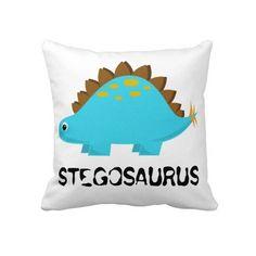 Blue Stegosaurus Pillow