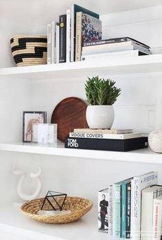 open shelf styling ideas, modern living room with bookcase decor, bookcase styling in neutral built-ins, how to style modern shelves Decor, Bookshelf Styling, Bookcase Styling, Decorating Shelves, Interior, Shelving, Amber Interiors, Home Decor, House Interior