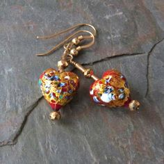 Klimt Heart Dangle Earrings Red Gold Foil by TransfigurationsJlry, $64.00
