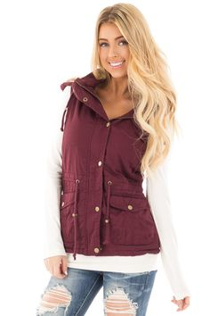 Burgundy Vest with Bronze Zipper Details front close up Winter Vest Outfits, Fall Outfits, Burgundy Vest, Spring Fashion, Autumn Fashion, Cute Boutiques, Boutique Tops, Classy Chic, Winter Looks