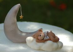 Fondant cake topper  Sleepy teddy with cloud and by HappyCaker