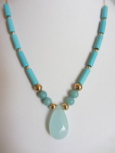 14k Solid Gold AA Chrysoprase Faceted 23x12mm Briolette, AA Sleeping Beauty Turquoise, Amazonite, 14k Gold Beaded Necklace 16""