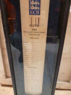 Framed Signed Cricket Bat 2004 Test Squads England V West Ins Bx46 110 0513