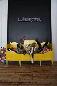 yellow daybed + chalkboard wall // kids room