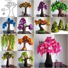 DIY Handmade Creative Felt Trees from Template. I look a this and see the basis for an incredible decorative piece for the sewing room. instead of felt leaves, scrap fabrics. Diy And Crafts, Crafts For Kids, Arts And Crafts, Paper Crafts, Felt Diy, Handmade Felt, Handmade Ideas, Diy Ideas, Felt Flowers