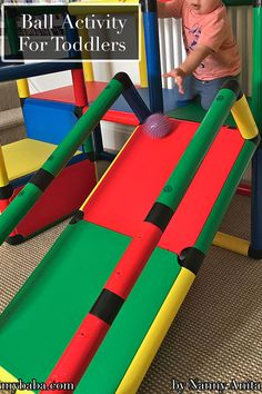 You don't need fancy things to do this ball activity, just a slide and some balls. Toddler activity for gross motor skills. Cognitive Activities, Baby Activities, Educational Activities, Toddler Slide, Toddler Fun, Things To Do Inside, Fun Things, Gross Motor Skills, Sensory Play
