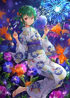 20 Types of Goldfish for Aquarium (Oranda, Shubunkin, Bubble Eye, Etc) Anime Girl Kimono, Manga Anime Girl, Kawaii Anime Girl, Anime Girls, Anime Green Hair, Anime Ninja, Pretty Anime Girl, Anime Japan, Yukata