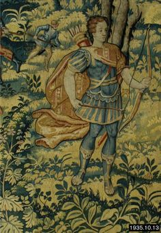 Flemish (Brussels), 17th Century . Deer Hunt with Archer, c.1580-1620  weft-tapestry. The Frick Collection.