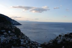 Early Morning: Positano and Salerno from the mountain above the coast.
