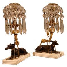 Elegant Pair of Regency Greyhound Candlesticks (England)