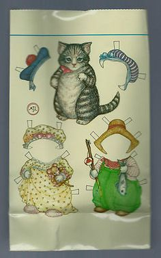 Kitty Cumber Cat Paper Doll Bag Paper Lunch Bag Merrimack 1984 | eBay