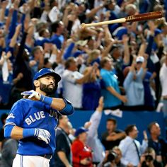 The Blue Jays' Jose Bautista tossed his bat toward the Rangers' dugout after hitting a three-run homer in the seventh inning Wednesday, Oct. Toronto advanced to the American League Championship Series for the first time since Toronto Blue Jays, Neymar, Kansas City, Blue Jays Game, American League, American Sports, Go Blue, Texas Rangers, Rangers Game