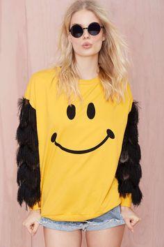 See You Monday Happy Face Fringe Sweatshirt | Shop Sweatshirts at Nasty Gal  #streetstyle