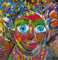 """Buy Portrait """"Colourful Soul"""", Acrylic painting by Andrew Alan Johnson on Artfinder. Discover thousands of other original paintings, prints, sculptures and photography from independent artists."""