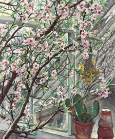"""urgetocreate: """"Laura Knight, Peach Blossom, oil on canvas """" English Artists, British Artists, Garden Painting, Peach Blossoms, Nature Table, Window View, Edgar Degas, Sculpture, Edouard Manet"""