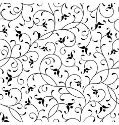 Illustration of floral oriental black calligraphy isolated seamless pattern background vector art, clipart and stock vectors. Scroll Pattern, Swirl Pattern, Floral Pattern Vector, Seamless Background, Floral Illustrations, Tile Art, Arabesque, Paint Designs, Fabric Painting