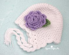 Crochet Scalloped Earflap Hat and Flower - Repeat Crafter Me free pattern