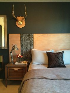 Queen Headboard How would you describe this? Queen Headboard 15 Cool DIY Headboards—No Drill Required! Wood Headboard with White Built in Lighting-Cordoba 90 Wooden Diy, Headboard Designs, Apartment Inspiration, Interior, Home Diy, Hollow Core Doors, Large Headboard, Home Bedroom, Home Decor