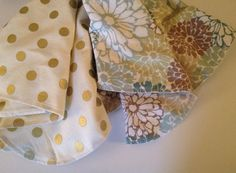 Blue Flower and Gold Metallic Burp Cloths by Nooches on Etsy