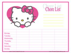 Hello Kitty Chore Chart Printable