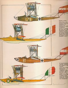 World War I: Rare full color plates of German and Italian seaplanes