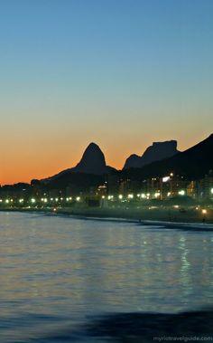 Sunset behind Copacabana Beach, Rio de Janeiro, Brazil
