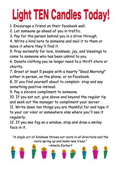 Can use these as ideas for Random Acts of Kindnesses