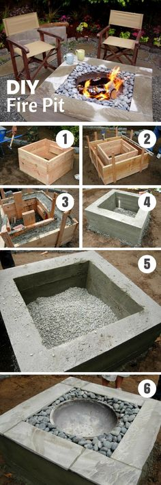 Simple DIY backyard fire pit concrete - DIY Home Decor Projects - Easy DIY Craft Ideas for Home Decorating Backyard Garden Design, Backyard Projects, Outdoor Projects, Garden Projects, Diy Projects, Backyard Ideas, Patio Ideas, Firepit Ideas, Garden Ideas