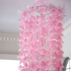 A floaty, pretty flower chandelier--perfect as a baby shower gift or decoration for a little girl's room.