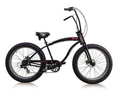 "Matte Black with Black Rims MICARGI SLUGO SS 7-Speed 26"" Fat Tire Beach Cruiser Bike - http://www.bicyclestoredirect.com/matte-black-with-black-rims-micargi-slugo-ss-7-speed-26-fat-tire-beach-cruiser-bike/"