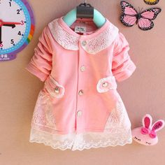 Baby Girl Jacket Cotton Baby Dress Pink Infant by SolarButterfly, $17.90