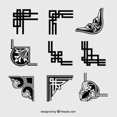 Ornamental corners in retro style Free Vector Motif Art Deco, Art Deco Pattern, Art Deco Design, Celtic Patterns, Celtic Designs, Fuente Art Deco, Nautique Vintage, Art Nouveau, Graphic Design Quotes