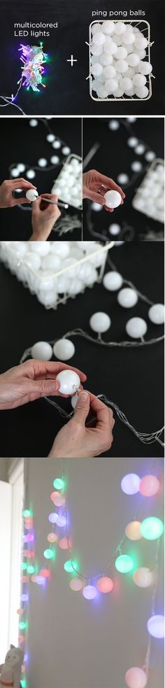 How To Make Colored Cafe String Lighting - using LED lights (they don't get hot) and ping pong balls.
