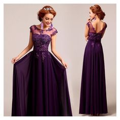 Deep plum purple chiffon lace floor length A-line evening gown ❤ liked on Polyvore featuring dresses, gowns, lace dress, lace ball gown, purple lace dresses, chiffon gowns and lace gown