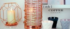 Gorgeous copper home interiors and copper accessories - copper geometric vase, copper candle holder