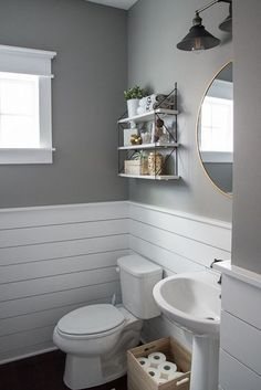 Check out this beautiful powder room reveal! This tiny bathroom was transformed … Check out this beautiful powder room reveal! This tiny bathroom was transformed from boring to fresh and modern! I love the shiplap and the modern classic decorations. Tiny Bathrooms, Upstairs Bathrooms, Downstairs Bathroom, Bathroom Renos, Bathroom Interior, Bathroom Remodeling, Remodeling Ideas, Bathroom Stuff, Bathroom Makeovers