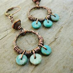 Turquoise and antiquated wire earrings