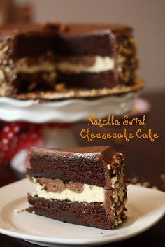 She's a Nutella freak. Nutella Swirl Cheesecake Cake, yes that is a layer of cheesecake in the middle :D Cheesecake Cake, Cheesecake Recipes, Dessert Recipes, Nutella Cheesecake, Cupcakes, Cupcake Cakes, Cheesecakes, Just Desserts, Delicious Desserts