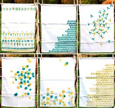 hand-printed tea towels - I really want to try this tutorial!