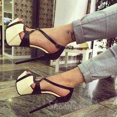 sweet Remarkable Contrast Color PU Dress Sandals