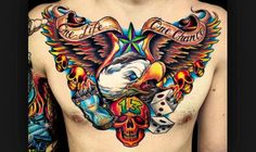 Check out some creative eagle chest tattoo as this tattoo is a great representation of all that is strong and free.