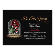 Be Our Guest Red Rose in Glass Elegant Black Card