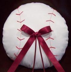 Baseball Ring Bearer Pillow. $68.00, via Etsy.thiscould go inside the baseball mitt..rings tie to the thin ribbon.