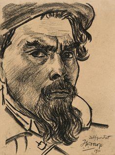 Jan Toorop (Dutch, 1858-1928), Self-portrait, 1911. Crayon on paper. Museum Het Valkhof, Nijmegen.